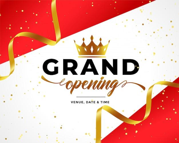 Sfondo di celebrazione di grande apertura con coriandoli e corona d'oro
