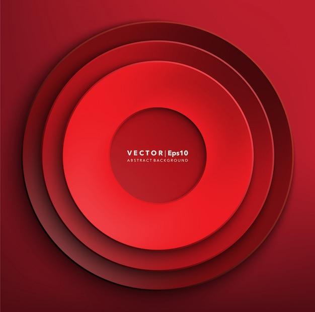 Sfondo di cerchi di carta rossa. cornice di carta rotonda.