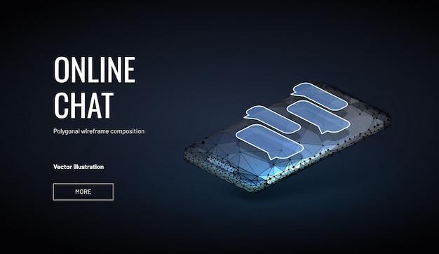 Sfondo di chat online isometrica con stile wireframe poligonale