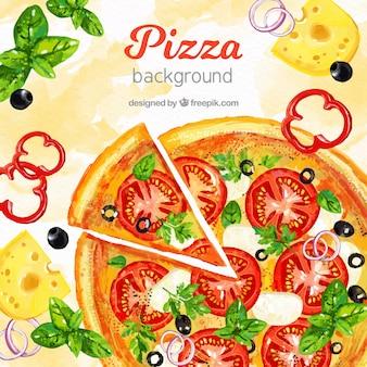 Sfondo di cibo con la pizza