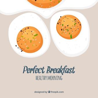 Sfondo di cibo con uova fritte