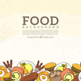 Sfondo di cibo delizioso con stile disegnato a mano