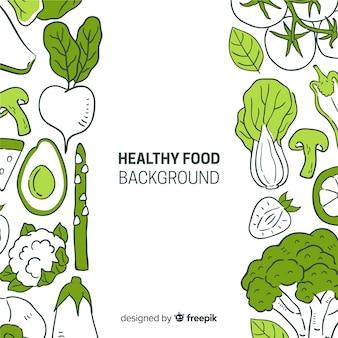 Sfondo di cibo sano disegnato a mano