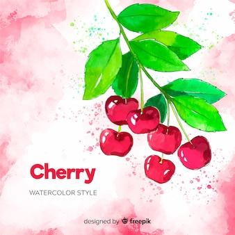 Sfondo di ciliegie ad acquerello