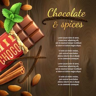Sfondo di cioccolato e spezie