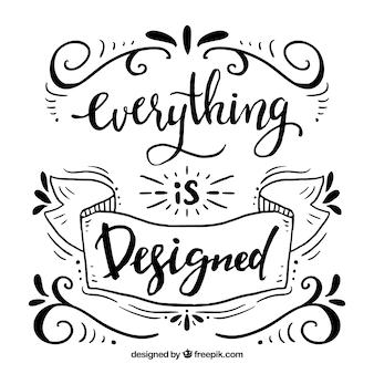 Sfondo di citazione di design grafico con scritte e ornamenti