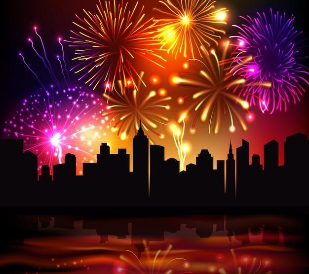 Sfondo di città di fuochi d'artificio