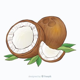 Sfondo di cocco disegnato a mano