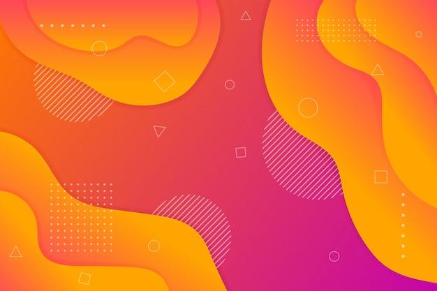 Sfondo di colore liquido viola, arancione, giallo e blu.