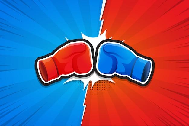 Sfondo di combattimento, guantoni da boxe, contro. illustrazione