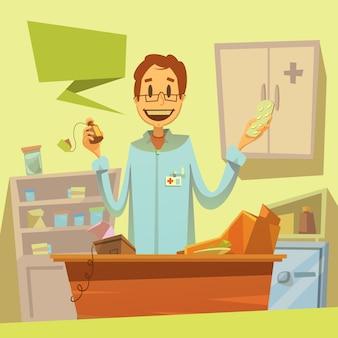 Sfondo di commesso di farmacia