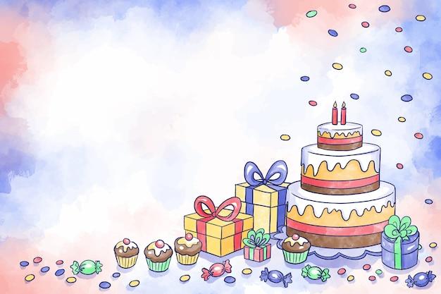 Sfondo di compleanno ad acquerello
