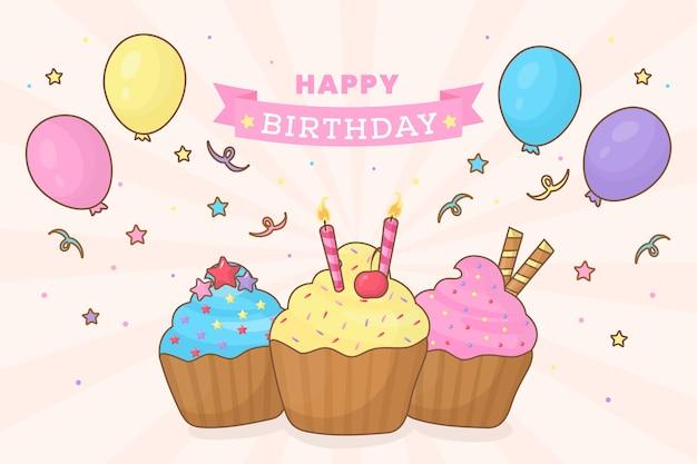 Sfondo di compleanno con cupcakes e palloncini