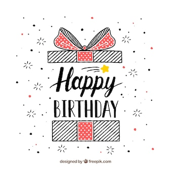 Sfondo di compleanno con il regalo disegnato a mano