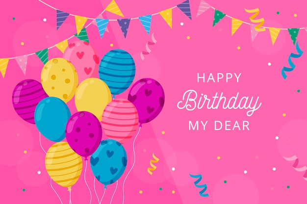 Sfondo di compleanno con palloncini e auguri