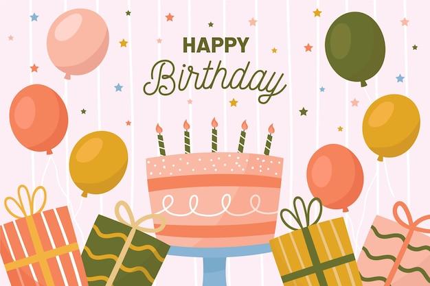 Sfondo di compleanno con palloncini e torta