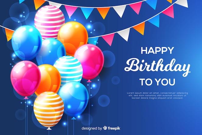 Sfondo di compleanno con palloncini realistici