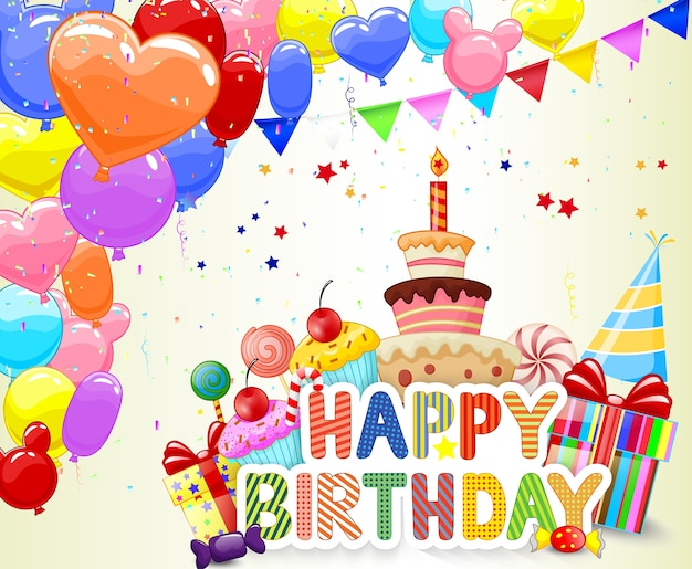 Sfondo di compleanno con palloncino colorato e torta di compleanno