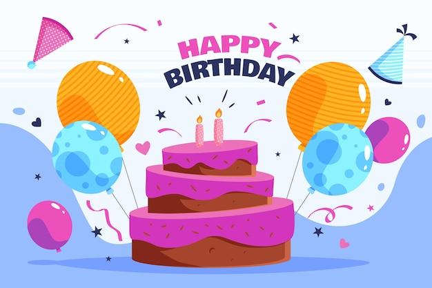 Sfondo di compleanno con torta e palloncini