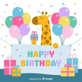Sfondo di compleanno giraffa