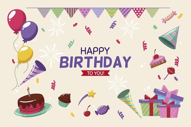 Sfondo di compleanno in design piatto