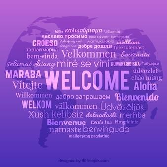 Sfondo di composizione di benvenuto con lingue diverse