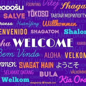Sfondo di composizione di benvenuto in diverse lingue con design piatto