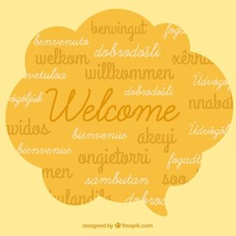 Sfondo di composizione di benvenuto in diverse lingue