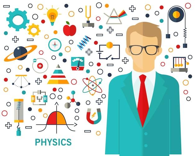 Sfondo di concetto di fisica. icone piatte.