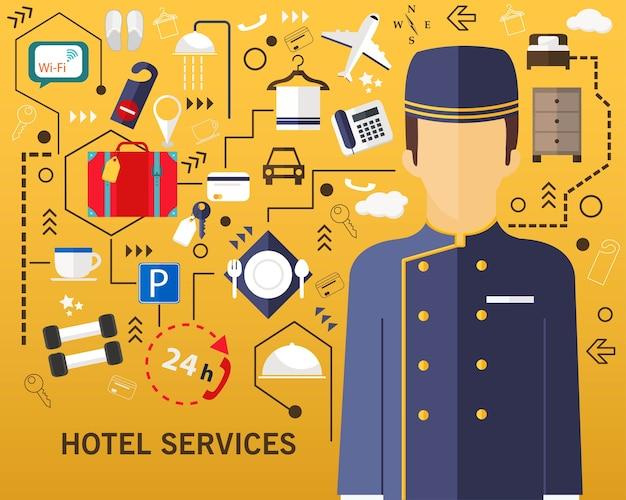 Sfondo di concetto di servizi alberghieri.