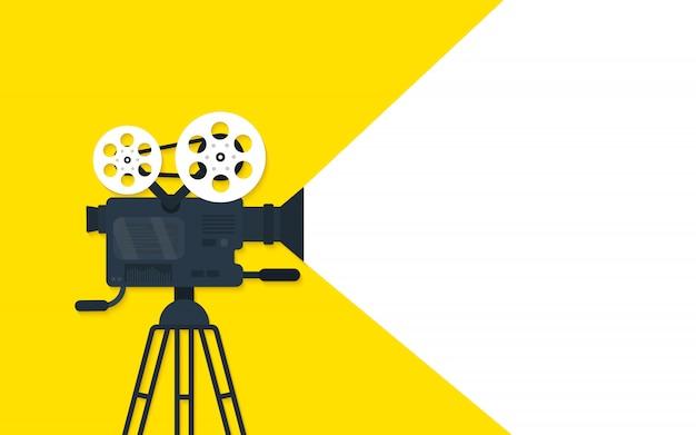 Sfondo di concetto piatto tempo di film. design di banner cinematografici