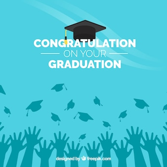 Sfondo di congratulazione blu graduazione
