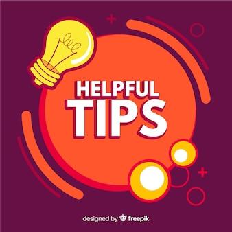 Sfondo di consigli utili con la lampadina