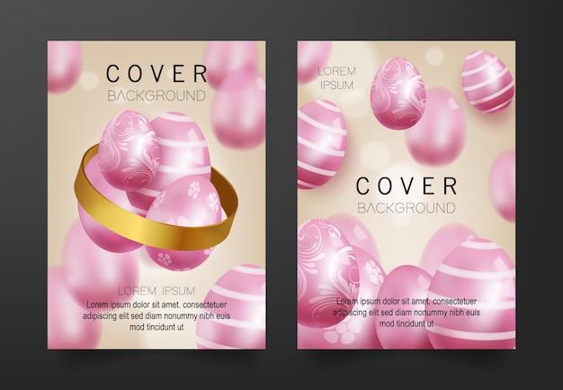 Sfondo di copertina con modello 3d uova rosa