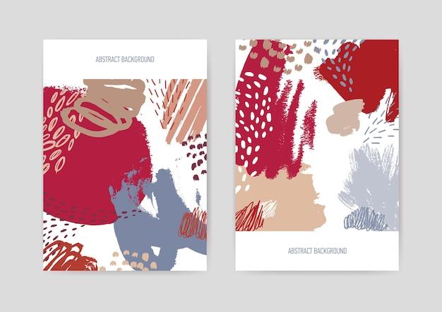 Sfondo di copertina decorato con texture dipinte a mano ruvide astratte colorate - scarabocchi, sbavature, macchie