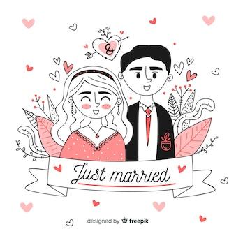 Sfondo di coppia matrimonio disegnato a mano