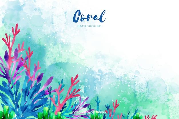 Sfondo di corallo acquerello