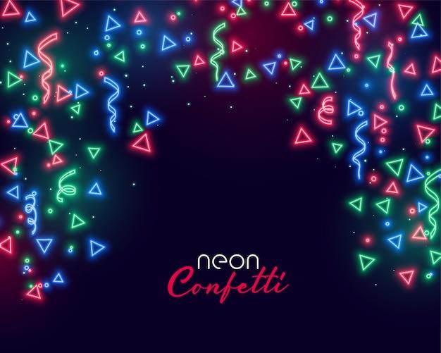 Sfondo di coriandoli al neon