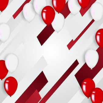 Sfondo di coriandoli e palloncini rossi illustrazioni vettoriali