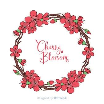 Sfondo di cornice cerchiata fiore di ciliegio