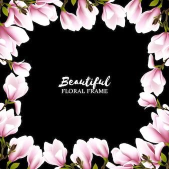 Sfondo di cornice floreale bella magnolia
