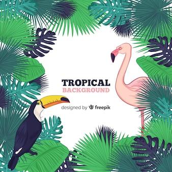 Sfondo di cornice foglie tropicali