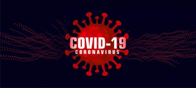 Sfondo di coronavirus covid-19 con microscopico virus rosso