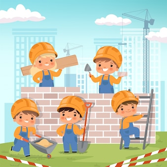 Sfondo di costruzione. i bambini che fanno un certo lavoro alla costruzione costruiscono il fondo del fumetto della casa