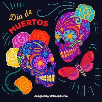 Sfondo di crani colorati messicani