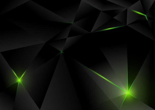 Sfondo di cristalli di lampo nero con luci verdi