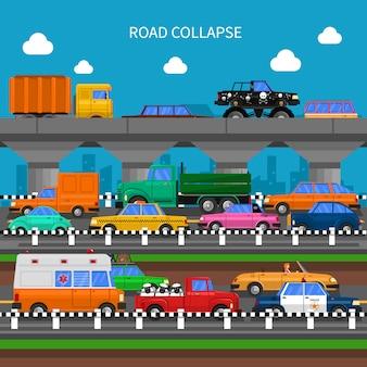 Sfondo di crollo stradale