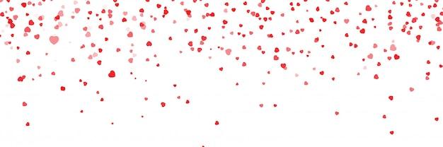 Sfondo di cuori che cadono. illustrazione vettoriale con una maschera di ritaglio. illustrazione di vettore di coriandoli cuore san valentino. coriandoli cuore rosso sfondo vettoriale