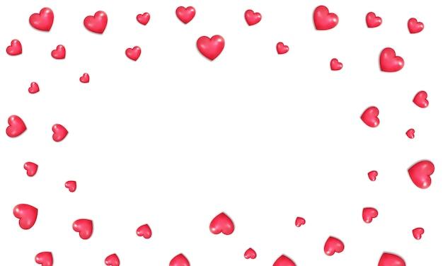Sfondo di cuori di san valentino. bordo di cuori rossi lucidi realistici