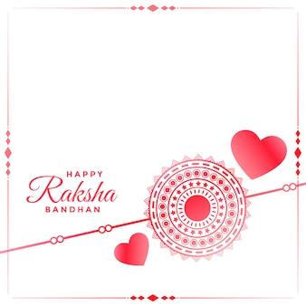 Sfondo di cuori e rakhi per il festival di rakhsha bandhan